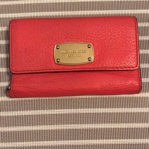 Michael Kors Coral Pink Wallet with Phone Holder